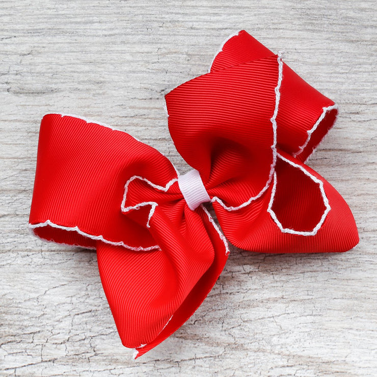 Red and White Moonstitch King Bow