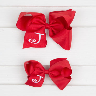 Red Monogram Initial Bow