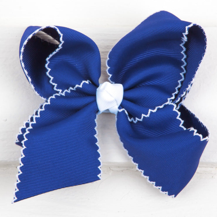 Royal Blue Moonstitch Bow