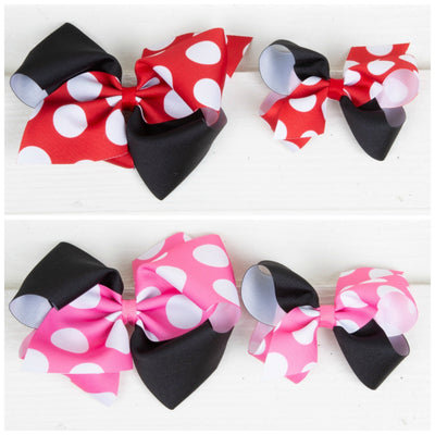 Two Toned Solid and Polka Dot Grosgrain Bow