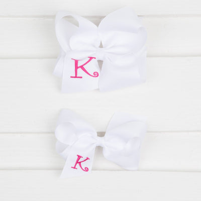 White Monogram Initial Bow