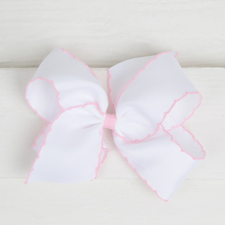 White & Pink Moonstitch King Bow