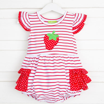 Applique Strawberry Flutter Sleeve Bubble White and Red