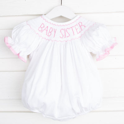 Baby Sister Smocked Bubble White Pique