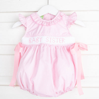 Baby Sister Smocked Ribbon Bubble Light Pink Gingham