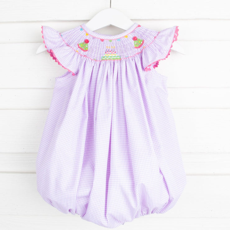 Birthday Smocked Bubble Lavender Gingham