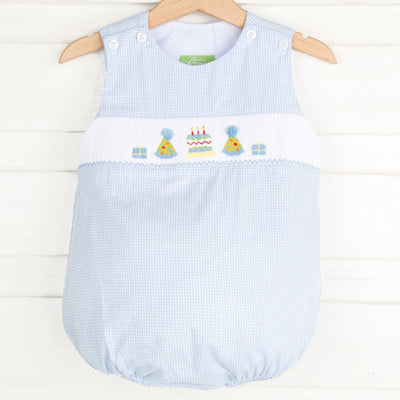 Birthday Smocked Bubble Light Blue Micro Gingham