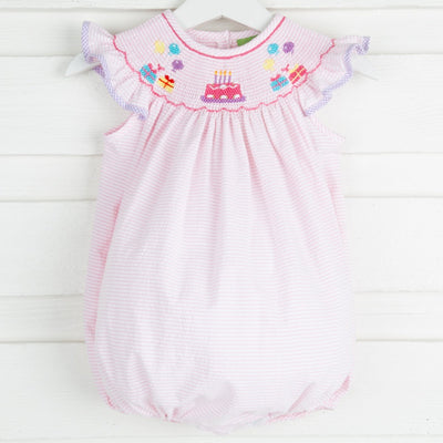 Birthday Smocked Bubble Light Pink Seersucker Stripe