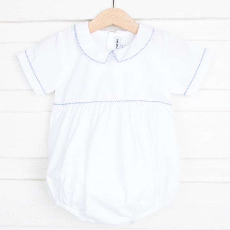 Blue Gingham Trim Boy Bubble White