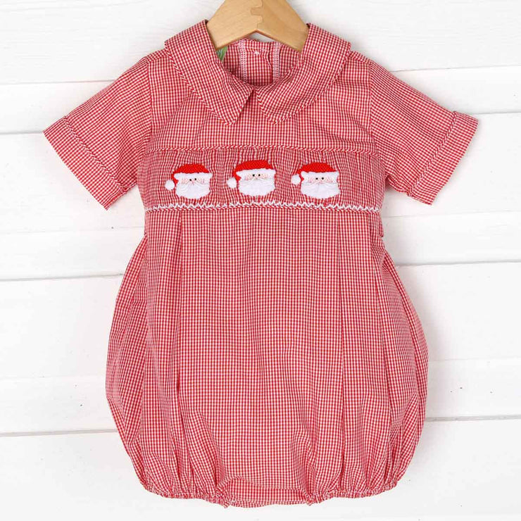 Boys Santa Smocked Bubble Red Gingham