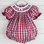 Bulldogs Smocked Spirit Bubble Maroon Check
