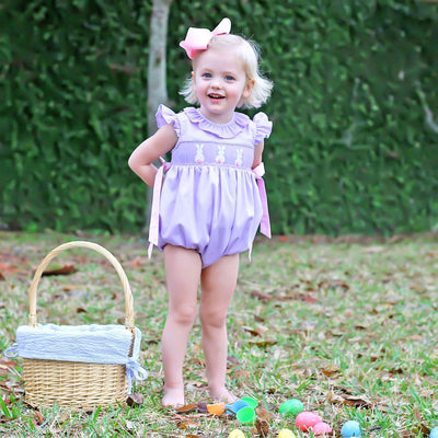 Bunny Bum Smocked Side Tie Bubble Lavender Pique
