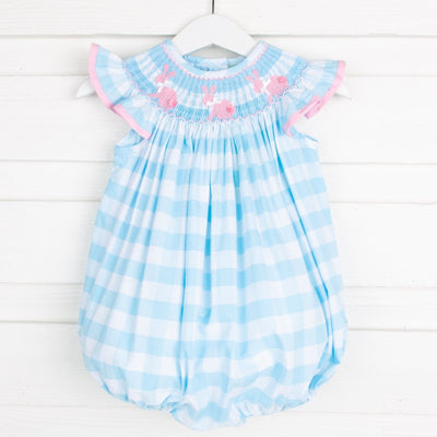 Bunny Silhouette Smocked Bubble Turquoise Check