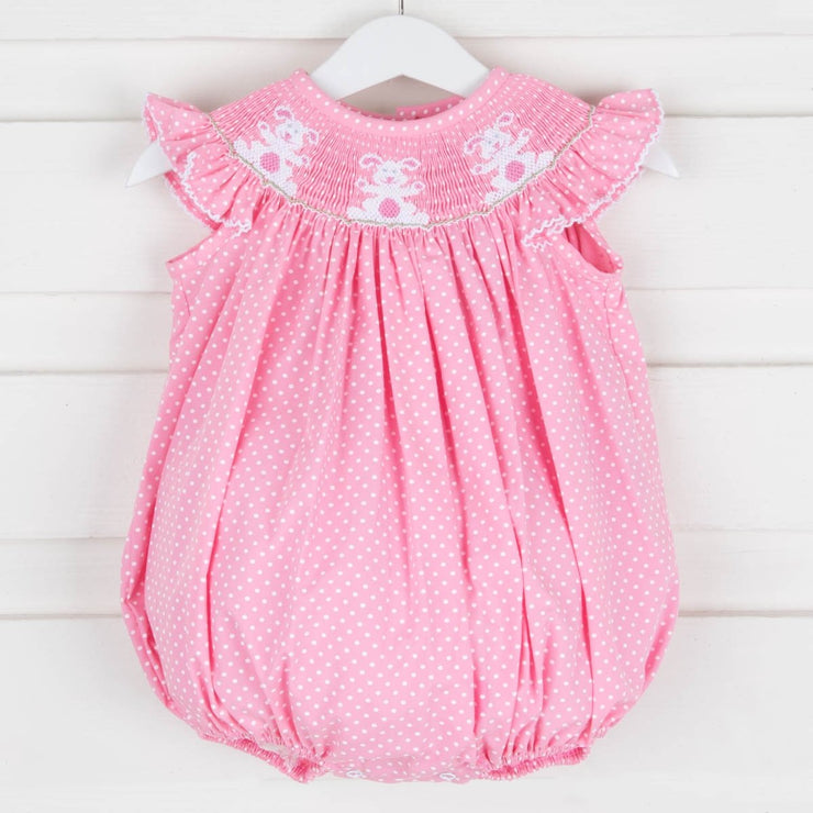 Bunny Smocked Bubble Pink Dot