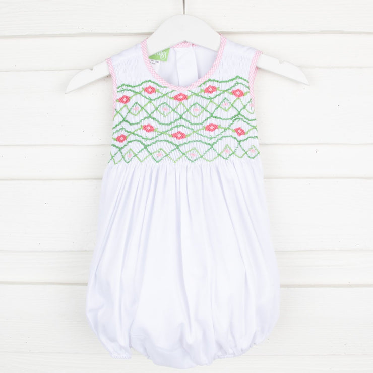 Chest Smocked Geometric Bubble White Pique