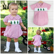 Christmas Tree Smocked Boy Collared Bubble Red Check