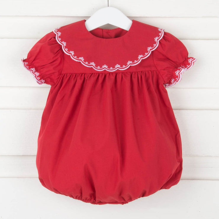 Classic Embroidered Bubble Red