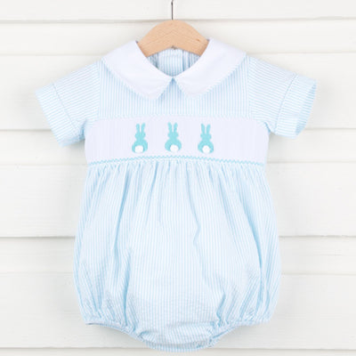 Collared Bunny Smocked Boy Bubble Turquoise Stripe Seersucker