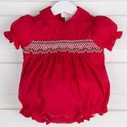 Collared Rosette Center Smocked Red Bubble