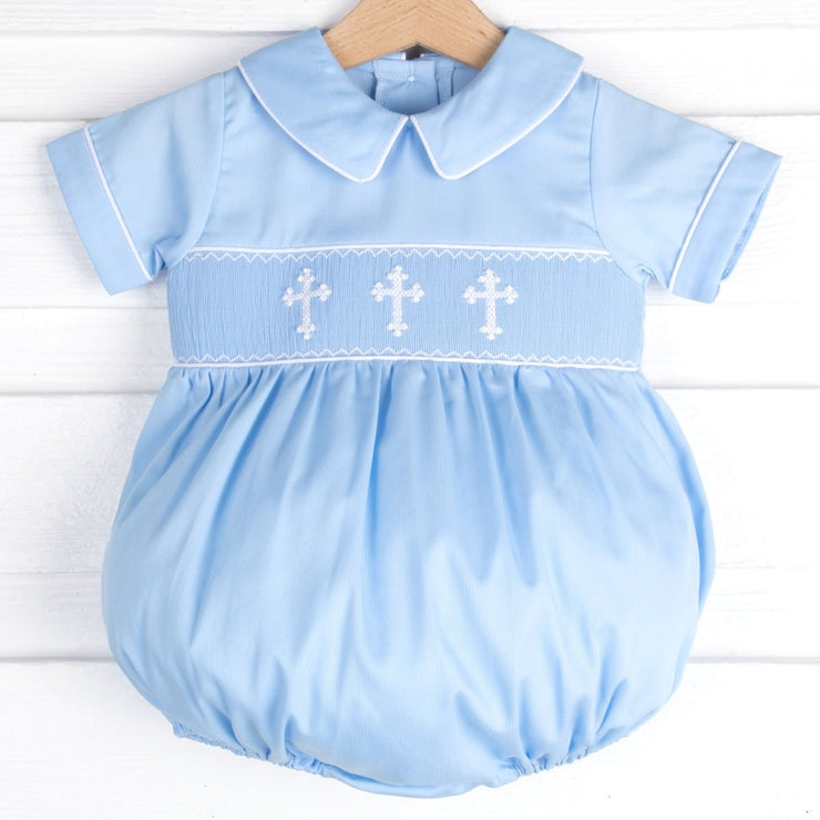 Collared Smocked Cross Bubble Blue Pique