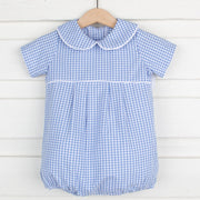 Cornflower Gingham Collared Boy Bubble