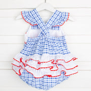 Crab Smocked Ruffle Bubble Blue Plaid