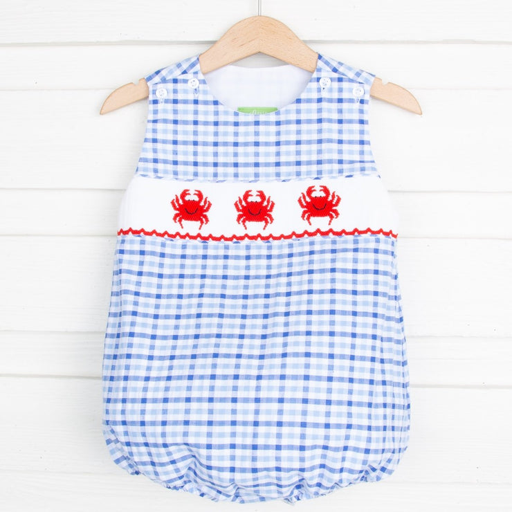 Crab Smocked Sun Bubble Blue Plaid