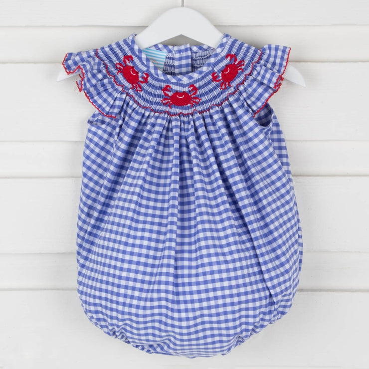 Crabs Smocked Angel Sleeve Bubble Royal Blue Check