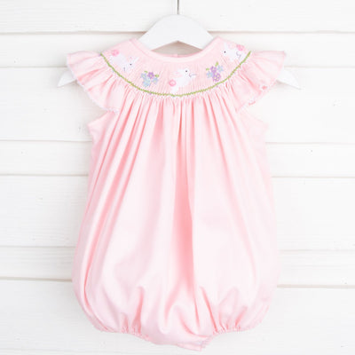 Easter Smocked Bubble Pink Pique