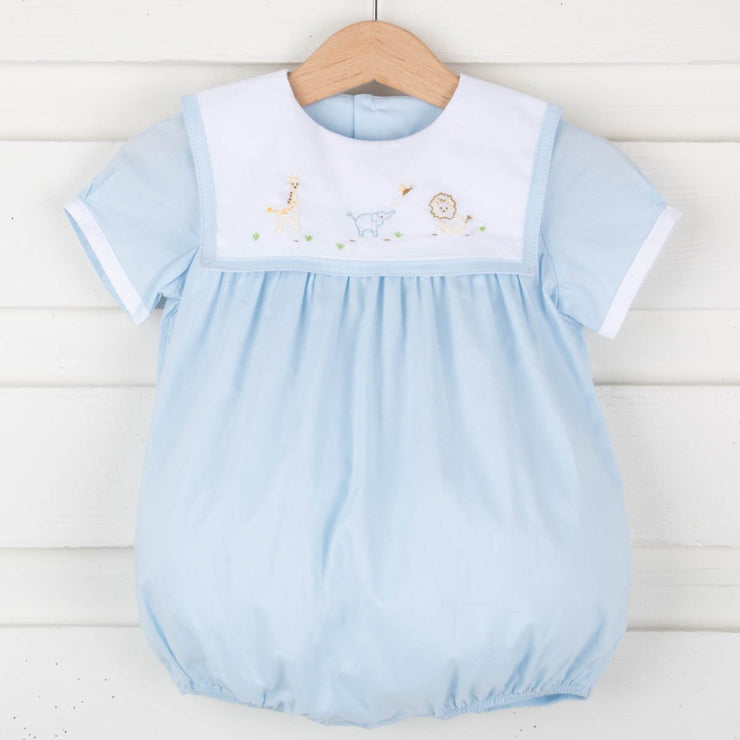 Embroidered Safari Boy Bubble Light Blue