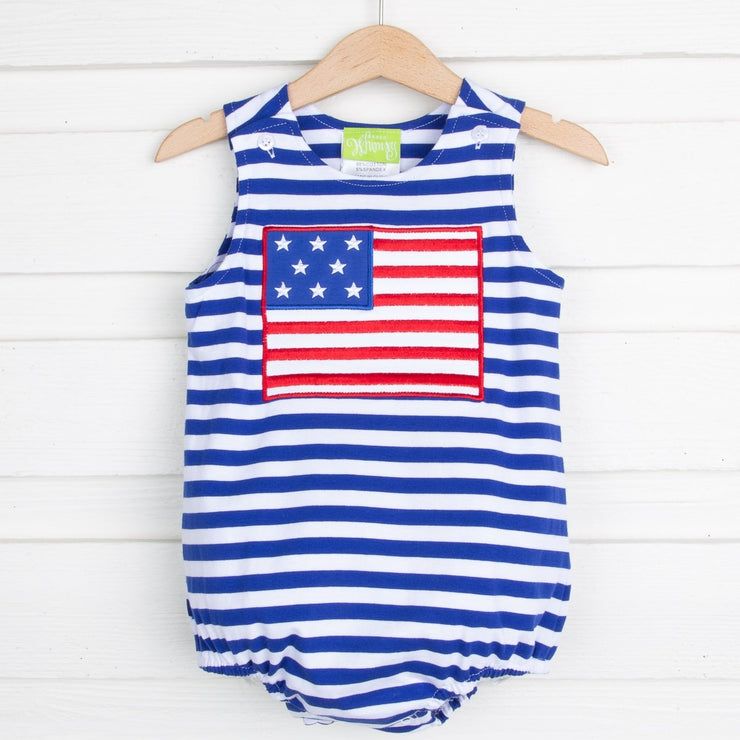 Flag Applique Sun Bubble Royal Knit Stripe