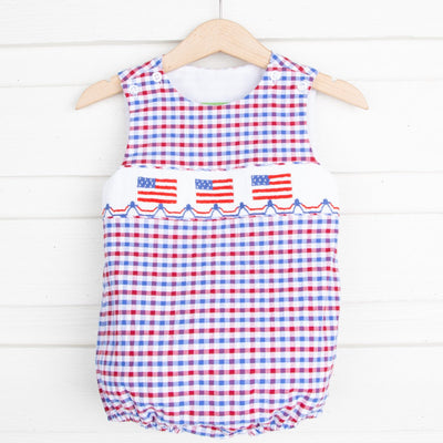 Flag Smocked Sun Bubble Patriotic Plaid Seersucker