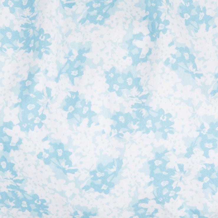 Geometric Smocked Bubble Floral Two Toned Blue