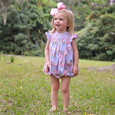 Geometric Smocked Bubble Lavender Blooms