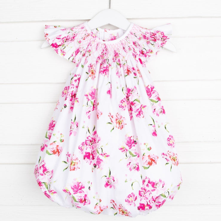 Geometric Smocked Pink Floral Bubble