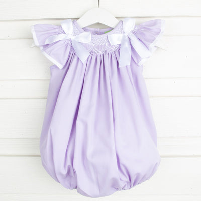 Geometric Smocked Ribbon Bubble Lavender Pique