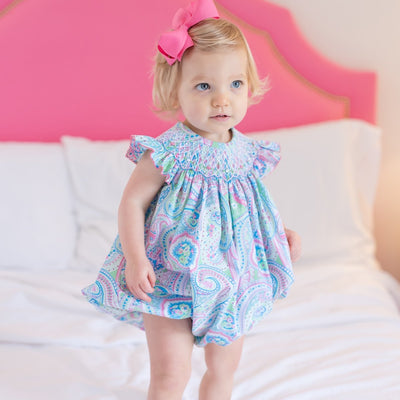 Geometric Smocked Spring Paisley Bubble