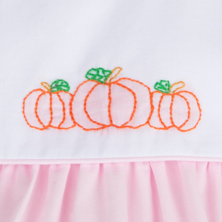 Girl Pumpkin Embroidered Pink Bubble
