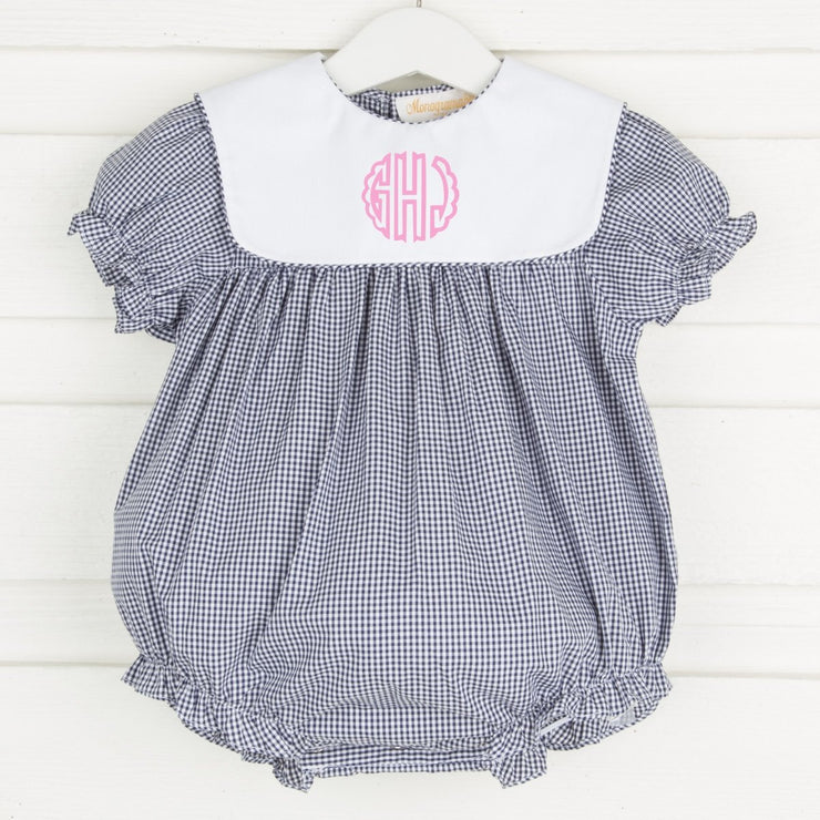 Girls Collared Bubble Navy Gingham