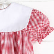 Girls Collared Red Gingham Bubble