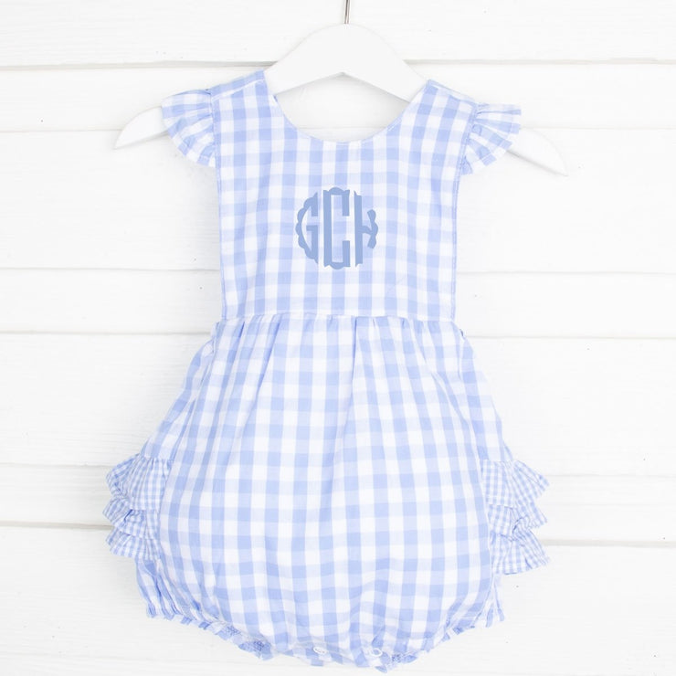 Light Blue Gingham Ruffle Bubble