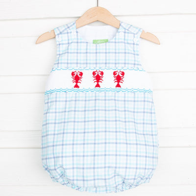 Lobster Smocked Boy Bubble Aqua and Navy Plaid