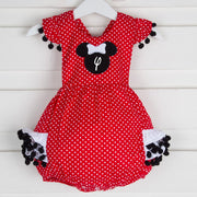 Mouse Ears Applique Ruffle Bubble Red Polka Dot