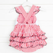 Mouse Ears Smocked Ruffle Bubble Red Check Seersucker