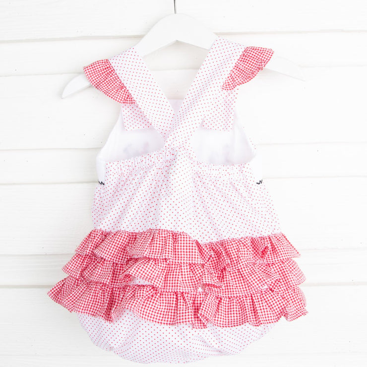 Mouse Ears Smocked Ruffle Bubble Red Dot