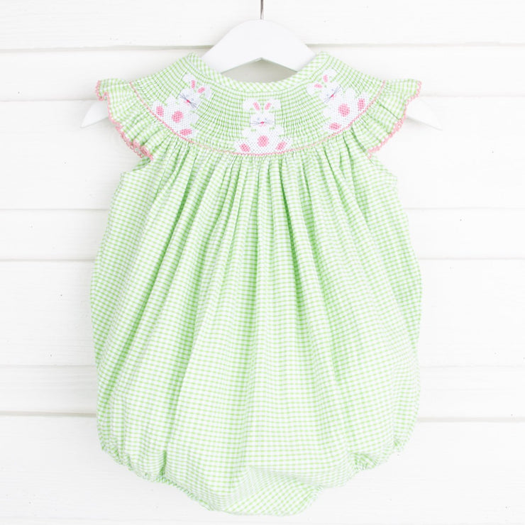 Pink Bunny Smocked Bubble Green Seersucker