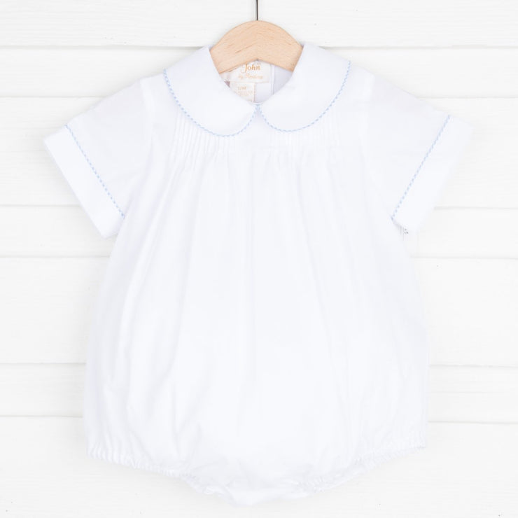Pleated Boy Bubble White and Light Blue Trim