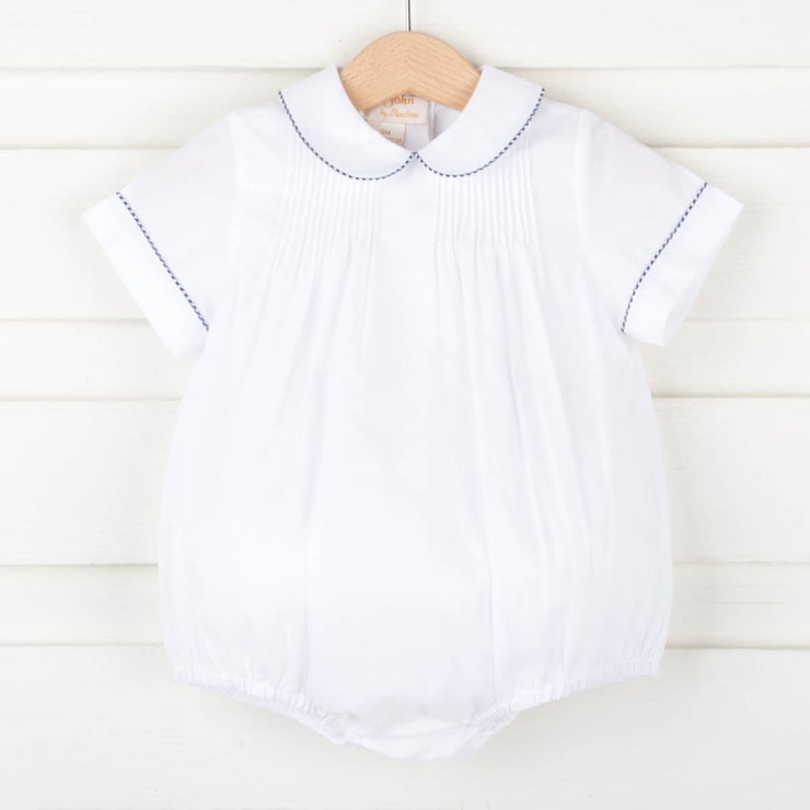 Pleated Boy Bubble White w Navy Gingham Trim