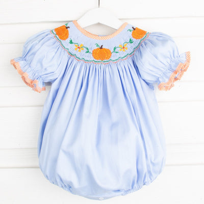 Pumpkin & Flower Smocked Bubble Light Blue
