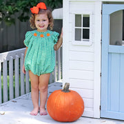 Pumpkin Smocked Bubble Green Check